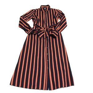 Boden Isodora Midi Belt Stripe Cotton Shirt Dress